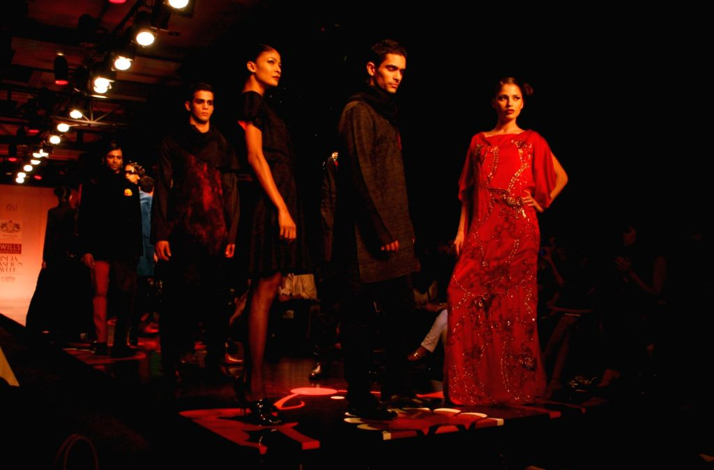 Models on the ramp for designer Rathor Jodhpur at Wills Lifestyle India Fashion Week in New Delhi on March 20.