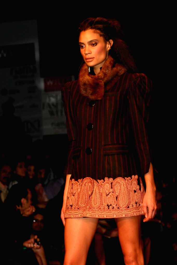 Models on the ramp for Designer Reena Dhaka at Wills Lifestyle India Fashion Week 2009 in New Delhi on March 21.