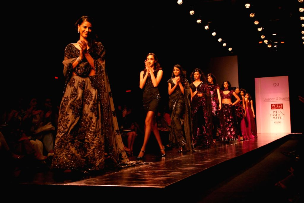 Models on the ramp for Designer Swapan Seema at WIFW in New Delhi on March 21.