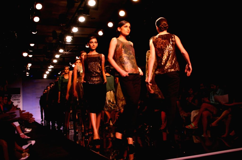 Models on the ramp for Designer Varun Bhal at WIFW in New Delhi on March 21.