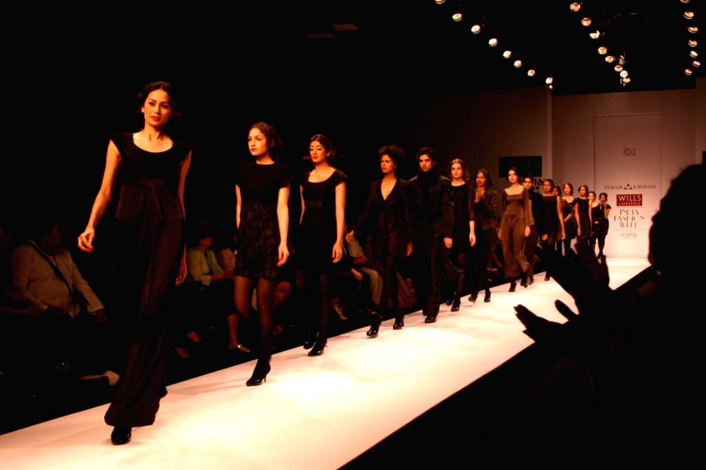 Models on the ramp for designer Zubair Kirmani at Wills Lifestyle India Fashion Week in New Delhi on March 20.