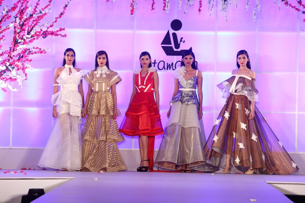 """Models showcase creations of Alpana Neeraj at """"Unity in Diversity"""" - FDCI's annual fashion show in New Delhi on Sept 16, 2018."""