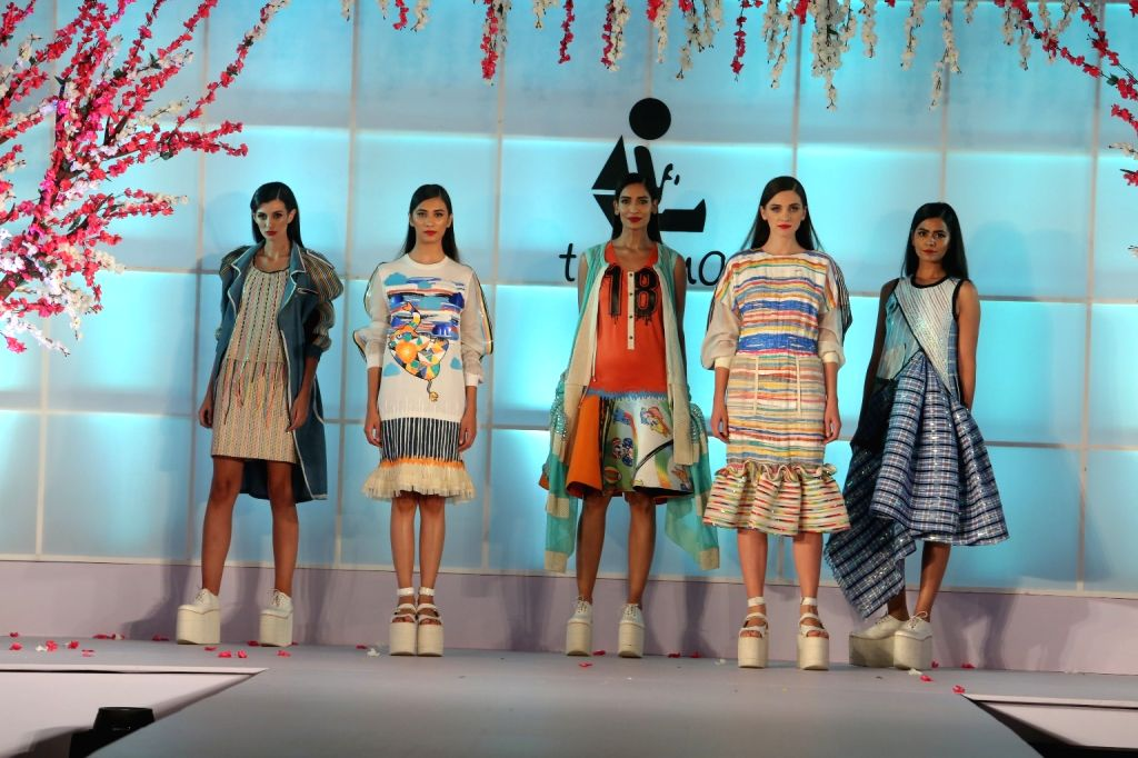 "Models showcase creations of Amit Aggarwal at ""Unity in Diversity"" - FDCI's annual fashion show in New Delhi on Sept 16, 2018."