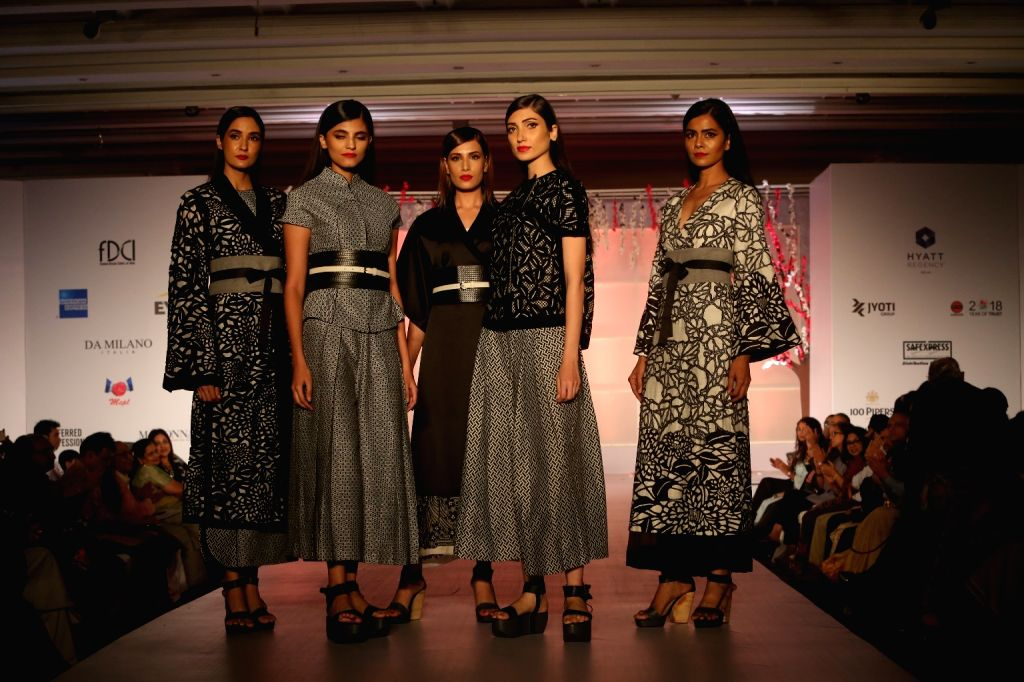 "Models showcase creations of Payal Pratap at ""Unity in Diversity"" - FDCI's annual fashion show in New Delhi on Sept 16, 2018."