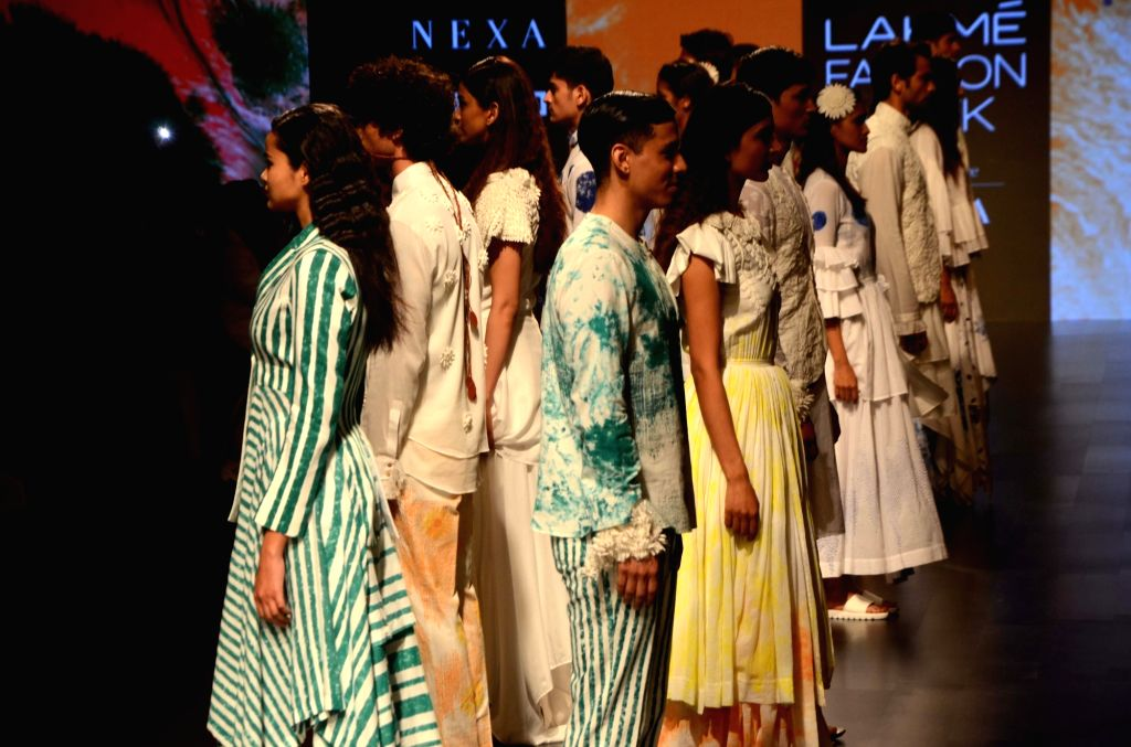 Models showcase fashion designer Mohammed Mazhar's creation during Lakme Fashion Week (LFW) Summer/Resort 2019 in Mumbai, on Feb 2, 2019.