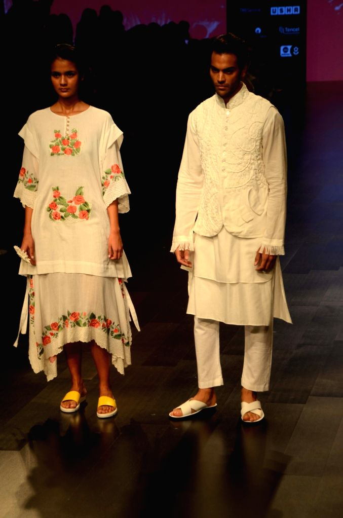 Models showcase fashion designer Mohammed Mazhar's creation during Lakme Fashion Week (LFW) Summer/Resort 2019 in Mumbai, on Feb 2, 2019.