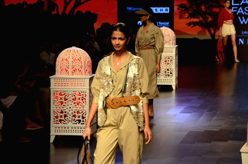 Models showcase fashion designer Sonal Verma's creation during Lakme Fashion Week (LFW) Summer/Resort 2019 in Mumbai, on Feb 2, 2019. - Sonal Verma