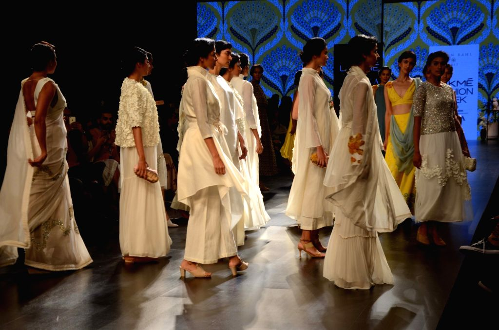 Models showcase fashion designer Varun Bahl's creation during Lakme Fashion Week (LFW) Summer/Resort 2019 in Mumbai, on Jan 30, 2019.