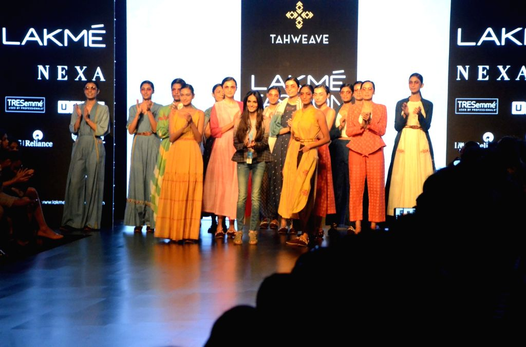 Models showcase Tahweave's creation on Day 3 of the Lakme Fashion Week Summer/Resort 2019 in Mumbai, on Feb 1, 2019.