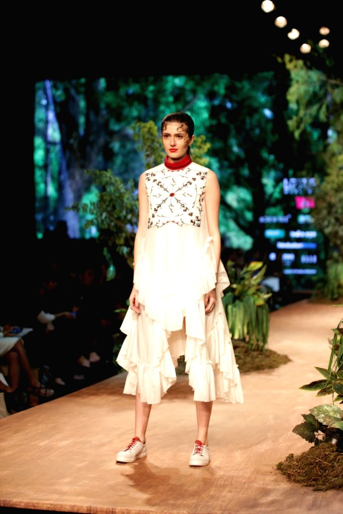 Models showcase the creation of fashion designer Samant Chauhan on the opening day of Lotus India Fashion Week in New Delhi, on March 13, 2019. - Samant Chauhan