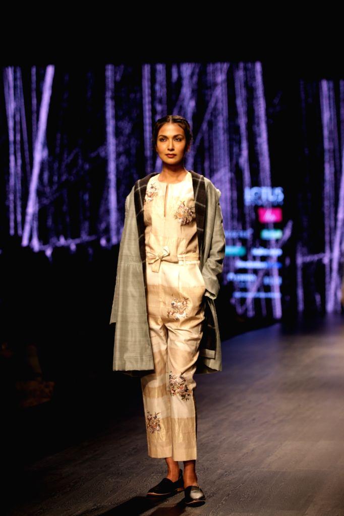 Models showcase the creations of fashion designer Pratima Pandey on Day 1 of Lotus India Fashion Week in New Delhi, on March 13, 2019. - Pratima Pandey