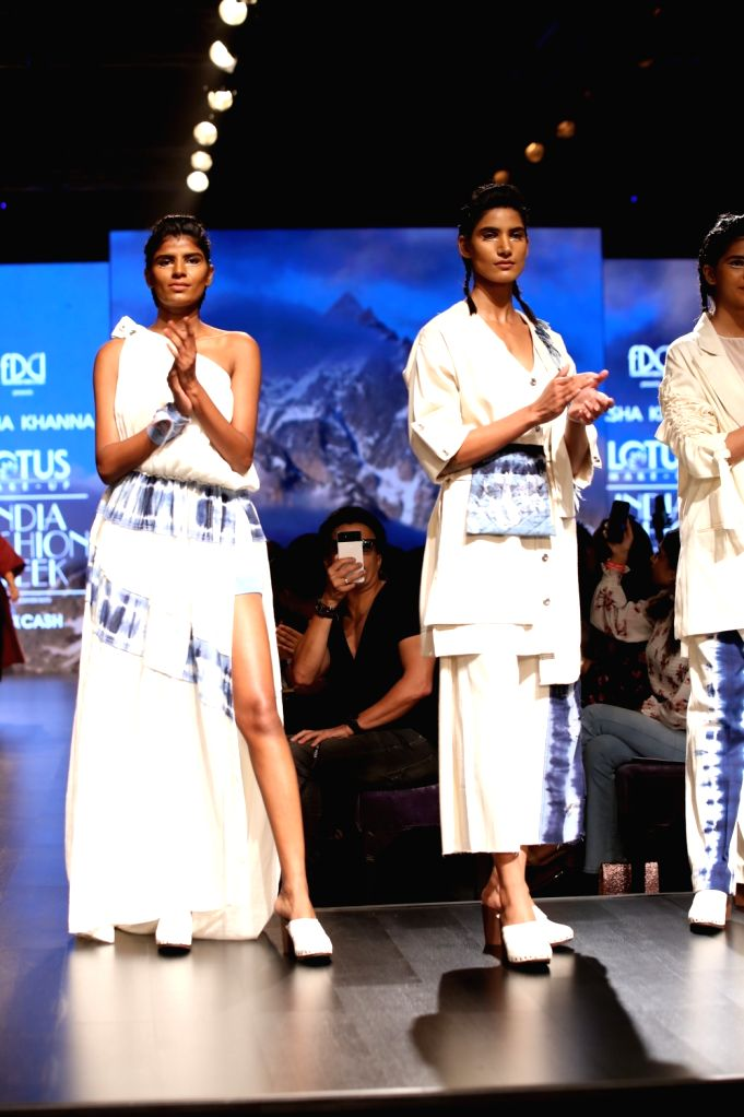 Models showcase the creations of fashion designer Diksha Khanna on the first day of Lotus Make-up India Fashion Week, in New Delhi on Oct 9, 2019. - Diksha Khanna