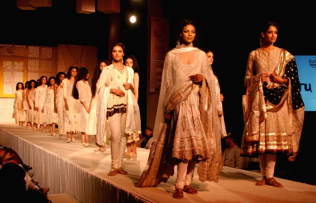 Models showcasing Designer Ritu Kumar's Eco-Friendly Collection at a Fashion show organised by National Geographic Channel in New Delhi on Wednesday night.