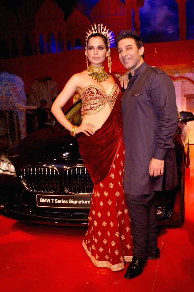 Models showcasing designer Suneet Verma's creation during `BMW India Bridal Fashion Week 2014`, in New Delhi on August 09,2014.