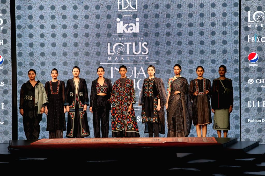 Models showcasing the collection from fashion designer Ragini Ahuja's fashion label Ikai on the first day of Lotus India Fashion Week, in New Delhi on Oct 9, 2019.