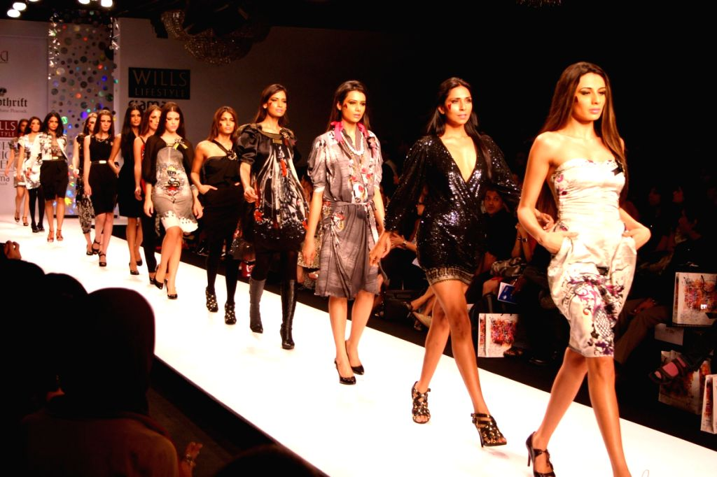 Models walk on the ramp for designer Falguni and Shane Peacock at Wills Lifestyle India Fashion Week held in Delhi on March 18.