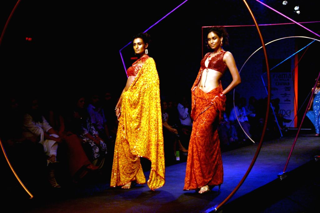 Models walk on the ramp for designer Satya Paul at Wills Lifestyle India Fashion Week held in Delhi on March 18.