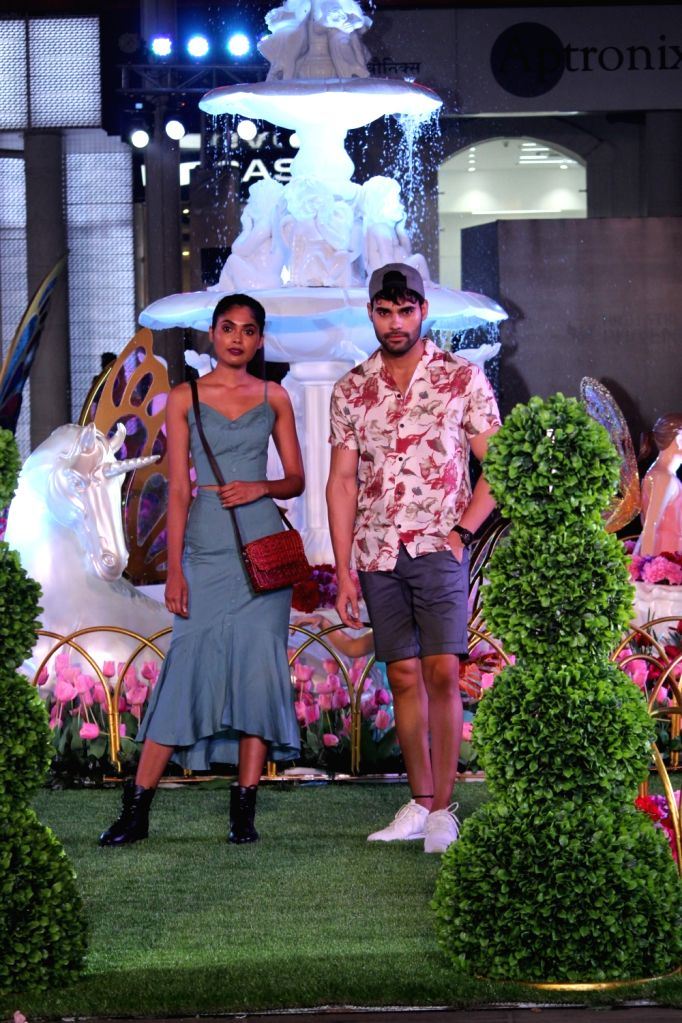 Models walk the ramp at a fashion show organsied to unveil the Spring Summer collection of Ritu Kumar, Satya Paul, Forever New and CoverStory in Mumbai on April 26, 2019. - Ritu Kumar