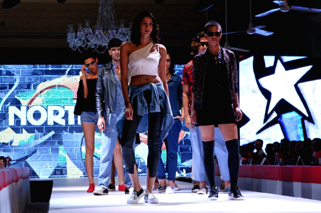 Models walk the ramp during Bata Fashion Show in New Delhi on May 2017.
