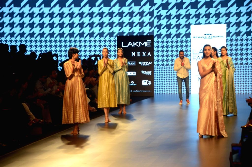 Models walk the ramp for fashion designer Hemang Agarwal during the Lakme Fashion Week Summer/Resort 2018 in Mumbai on Feb 1, 2018.