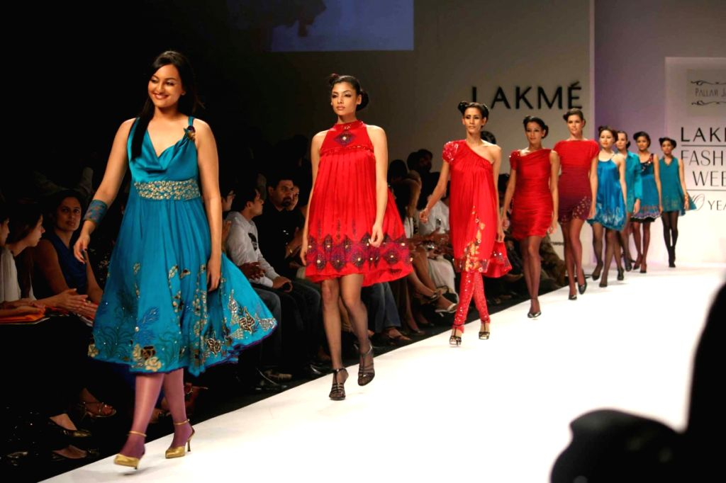 Models walk the ramp for fashion designer Pallavi Jaipur's at the ongoing autumn/winter edition of Lakme India Fashion Week in Mumbai.