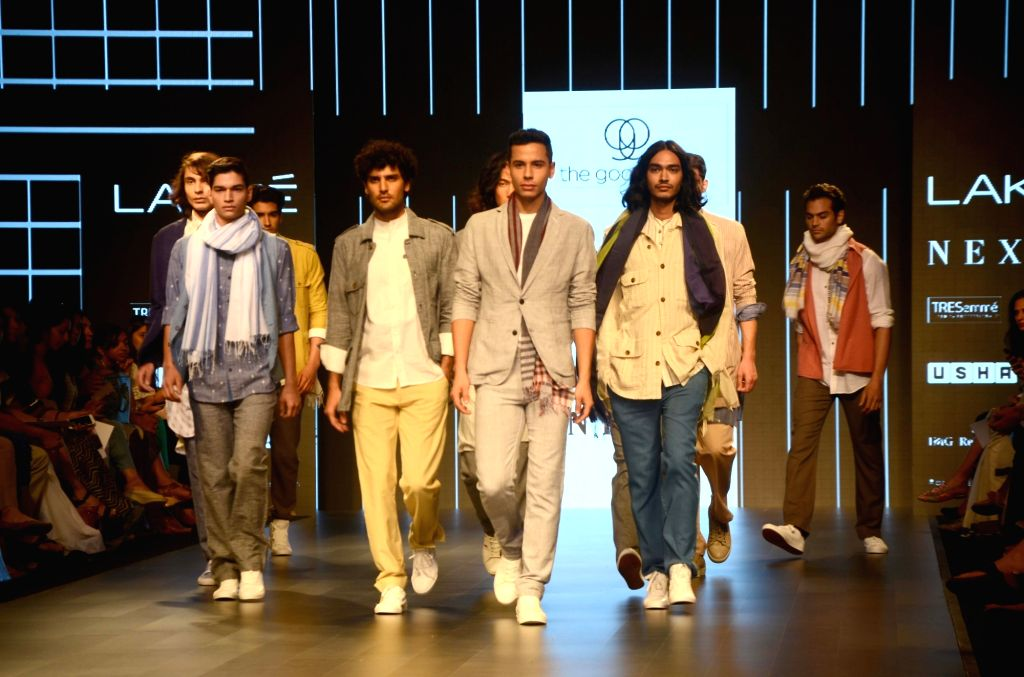 Models walk the ramp for The Good Loom by GoCoop during the Lakme Fashion Week Summer/Resort 2018 in Mumbai on Feb 1, 2018.