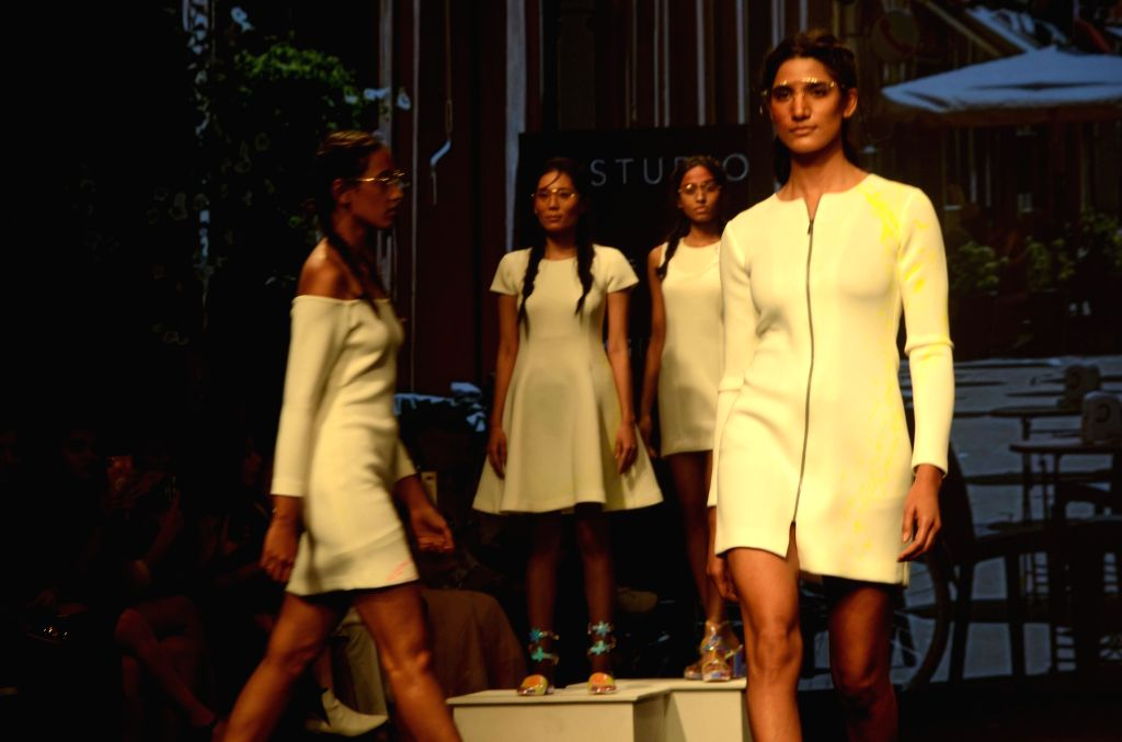 Models walk the ramp showcasing creations of Misfit Panda at the Lakme Fashion Week (LFW) Summer/Resort 2019 in Mumbai on Feb 3, 2019.