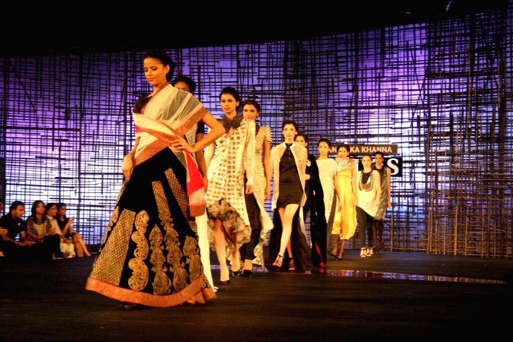 Models walking at designers Wendell Rocdericks Show at Chivas Tour at Grand Hyatt.