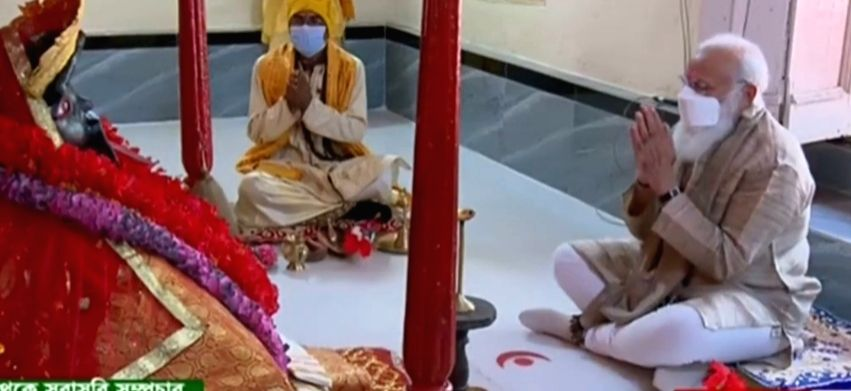 Modi's second day started with morning prayers at the Jeshoreshwari temple in Satkhira