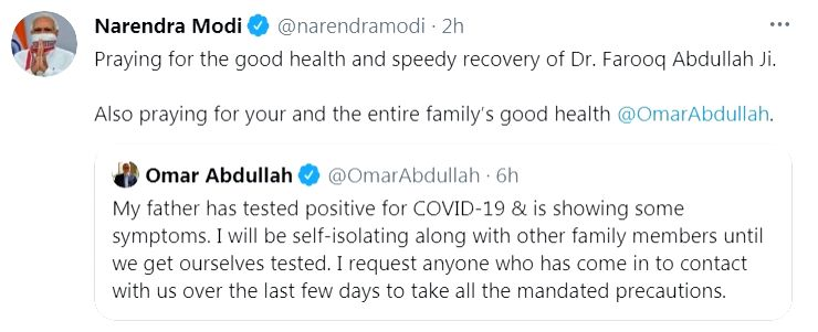 Modi wishes Farooq Abdullah speedy recovery from Covid.(photo:Twitter)