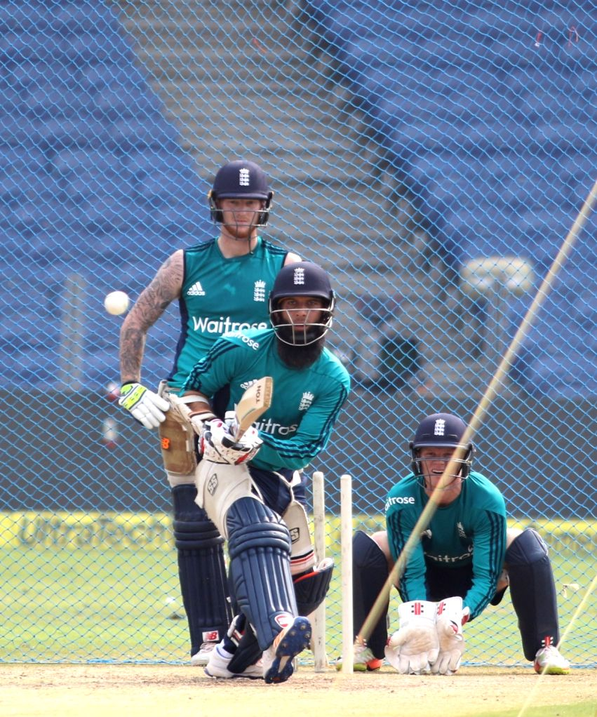 Moeen Ali of England in action during a practice session ahead of the 1st ODI match between India and England at Maharashtra Cricket Association Stadium, Pune on Jan 14, 2017.