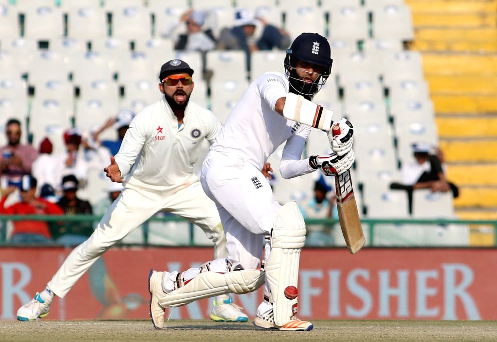 Moeen Ali of England in action on Day 3 of the third test match between India and England at Punjab Cricket Association IS Bindra Stadium, Mohali on Nov 28, 2016.