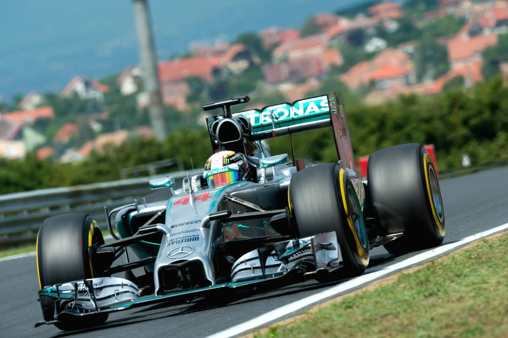 Mercedes Formula One driver Lewis Hamilton of Britain drives his car during the third free practice session of the F1 Hungarian Grand Prix at Hungaroring in ...