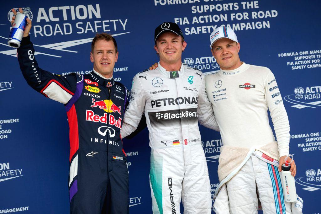 Red Bull Formula One driver Sebastian Vettel of Germany, Mercedes Formula One driver Nico Rosberg of Germany and Williams Formula One driver Valtteri ...