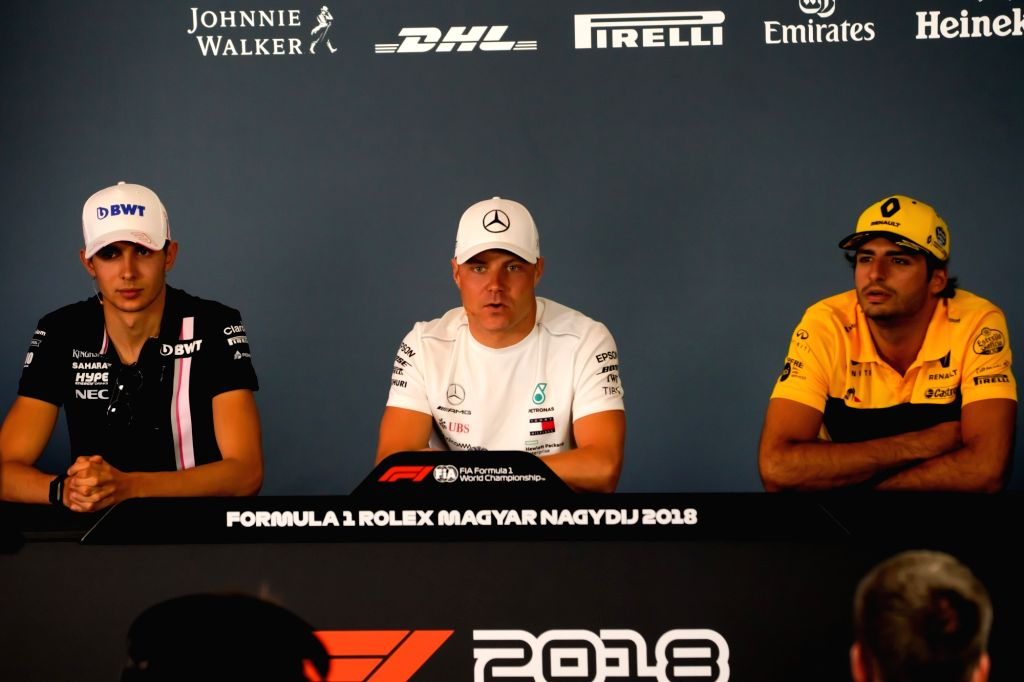 MOGYOROD, July 27, 2018 - Force India's French driver Esteban Ocon (L), Mercedes's Finnish driver Valtteri Bottas (C) and Renault's Spanish driver Carlos Sainz attend a press conference ahead of the ...