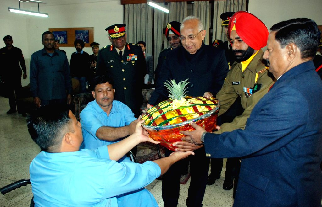 Haryana Governor Kaptan Singh Solanki meet with the inmates of Paraplegic Rehabilitation Centre in Mohali, Punjab on the 37th Raising Day of BSF  on Dec 1, 2014. - Kaptan Singh Solanki