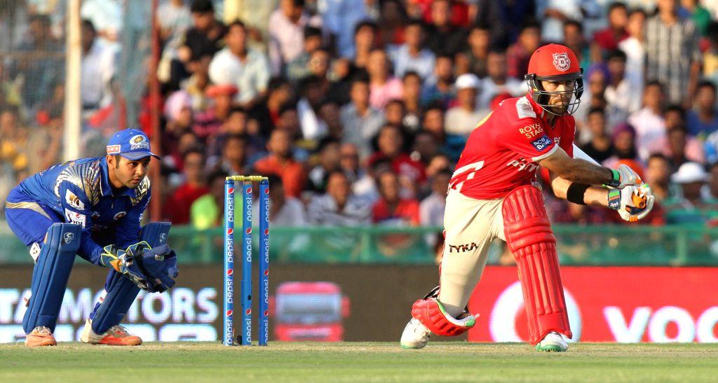 Kings XI Punjab batsman Glenn Maxwell in action during an IPL-2015 match between Mumbai Indians and Kings XI Punjab at the Punjab Cricket Association Stadium, in Mohali on May 3, 2015. - Glenn Maxwell