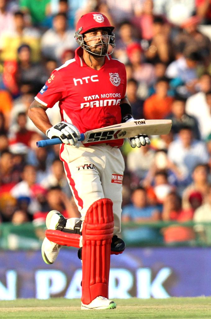 Kings XI Punjab batsman Murali Vijay in action during an IPL-2015 match between Mumbai Indians and Kings XI Punjab at the Punjab Cricket Association Stadium, in Mohali on May 3, 2015. - Murali Vijay