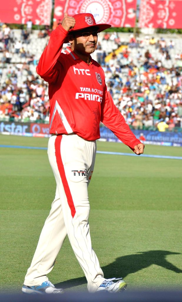Kings XI Punjab player Virender Sehwag during an IPL-2015 match between Mumbai Indians and Kings XI Punjab at the Punjab Cricket Association Stadium, in Mohali on May 3, 2015.