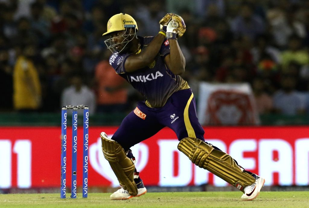 Mohali: Kolkata Knight Riders' Andre Russell in action during the 52nd match of IPL 2019 between Kings XI Punjab and Kolkata Knight Riders at Punjab Cricket Association IS Bindra Stadium in Mohali, on May 3, 2019. (Photo: Surjeet Yadav/IANS) - Surjeet Yadav