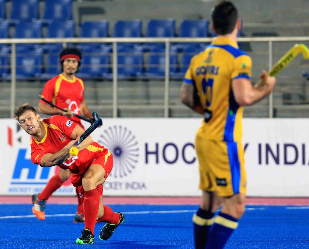 Players in action during a Hockey India League match between ​Punjab Warriors and Ranchi Rays in Mohali, on Feb 17, 2015. (Photo : IANS)