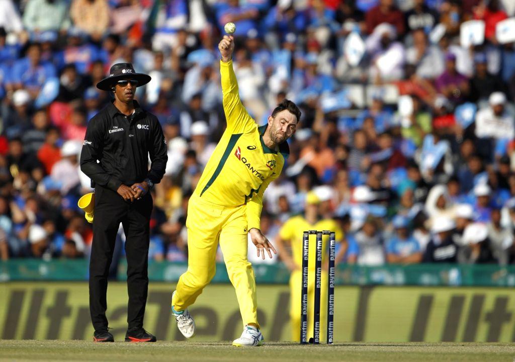 Mohali (Punjab): Australia's Glenn Maxwell in action during the fourth ODI match between India and Australia at Punjab Cricket Association IS Bindra Stadium in Mohali, Punjab on March 10, 2019. (Photo: Surjeet Yadav/IANS) - Surjeet Yadav