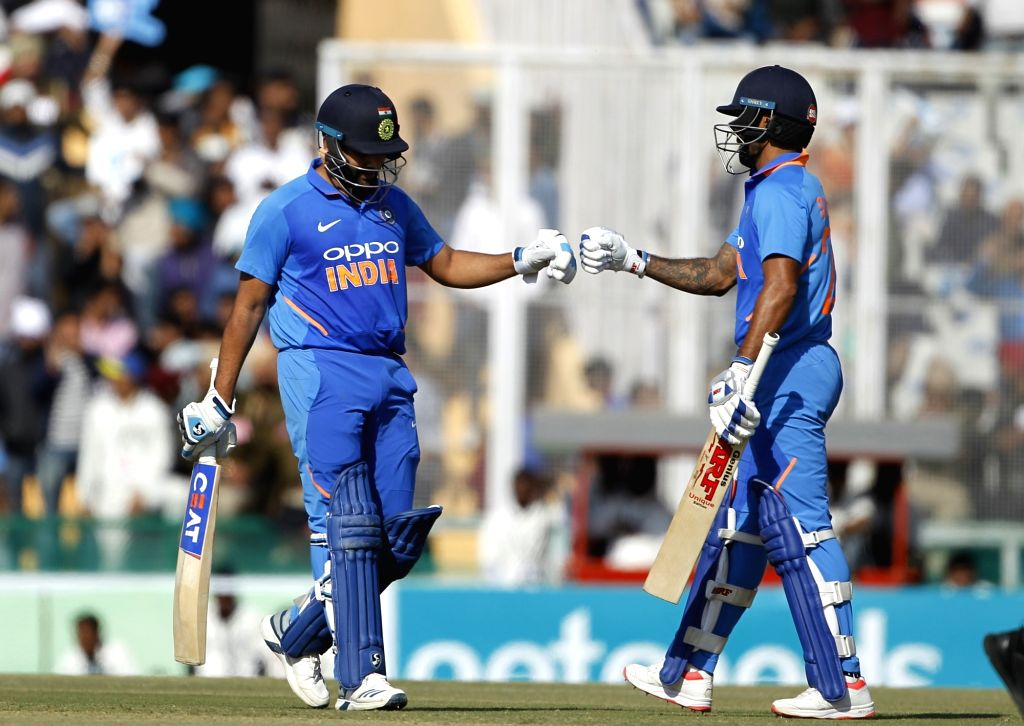 Mohali (Punjab): India's Rohit Sharma and Shikhar Dhawan during the fourth ODI match between India and Australia at Punjab Cricket Association IS Bindra Stadium in Mohali, Punjab on March 10, 2019. (Photo: Surjeet Yadav/IANS) - Shikhar Dhawan, Rohit Sharma and Surjeet Yadav