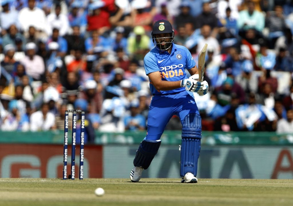 Mohali (Punjab): India's Rohit Sharma in action during the fourth ODI match between India and Australia at Punjab Cricket Association IS Bindra Stadium in Mohali, Punjab on March 10, 2019. - Rohit Sharma