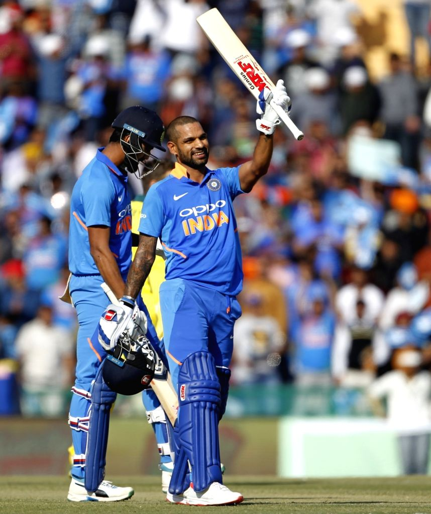 Mohali (Punjab): India's Shikhar Dhawan celebrates his century during the fourth ODI match between India and Australia at Punjab Cricket Association IS Bindra Stadium in Mohali, Punjab on March 10, ... - Shikhar Dhawan