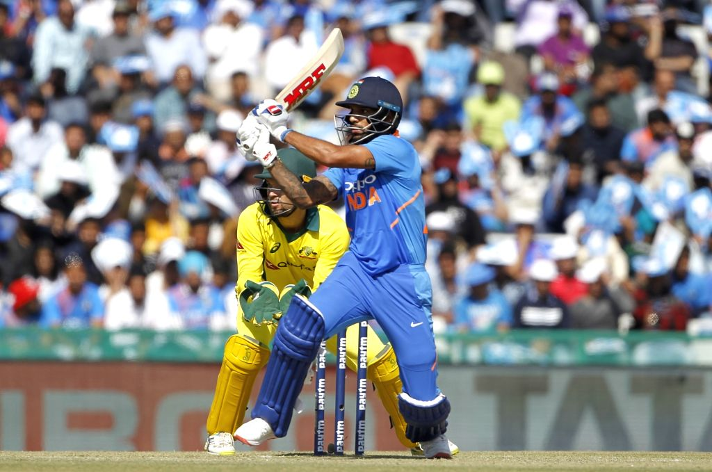Mohali (Punjab): India's Shikhar Dhawan in action during the fourth ODI match between India and Australia at Punjab Cricket Association IS Bindra Stadium in Mohali, Punjab on March 10, 2019. - Shikhar Dhawan