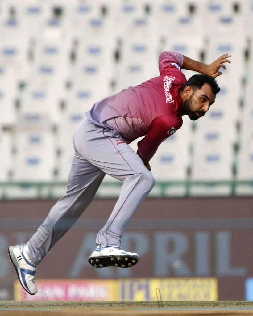 Mohammad Shami of Delhi Daredevils during a practice session in Mohali on April 7, 2018.