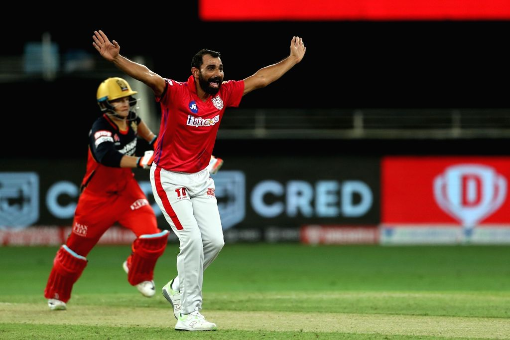 Mohammad Shami of Kings XI Punjab appeals for the wicket of Joshua Philippe of Royal Challengers Bangalore during match 6 of season 13 of the Dream 11 Indian Premier League (IPL) between Kings XI ...