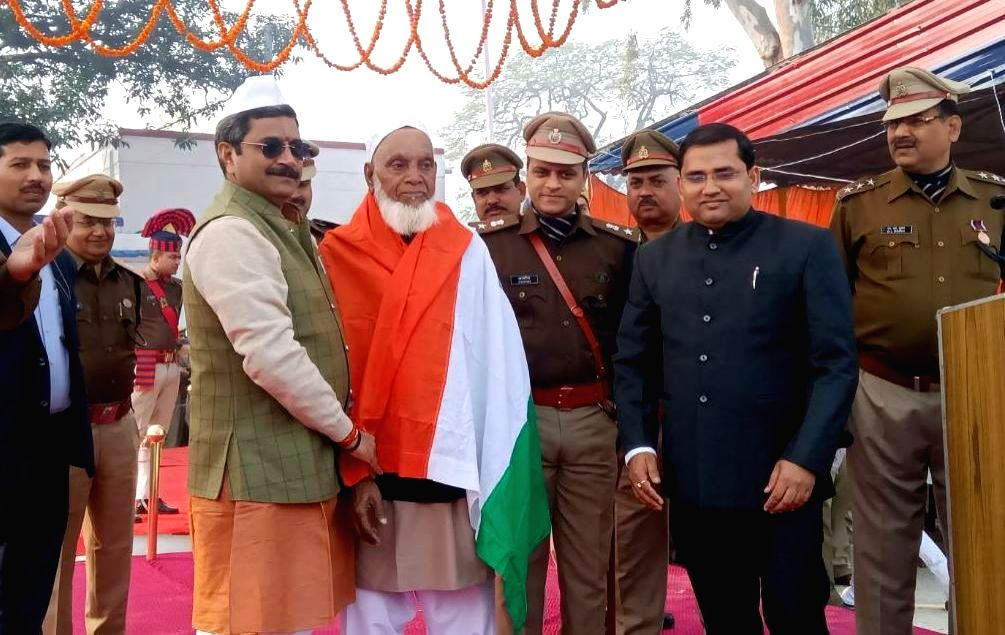 Mohammad Sharif endearingly known as 'Sharif Chacha', whose name figures in the list of Padma Shri awards for 2020, being felicitated at the 71st Republic Day function in Ayodhya on Jan 26, ...