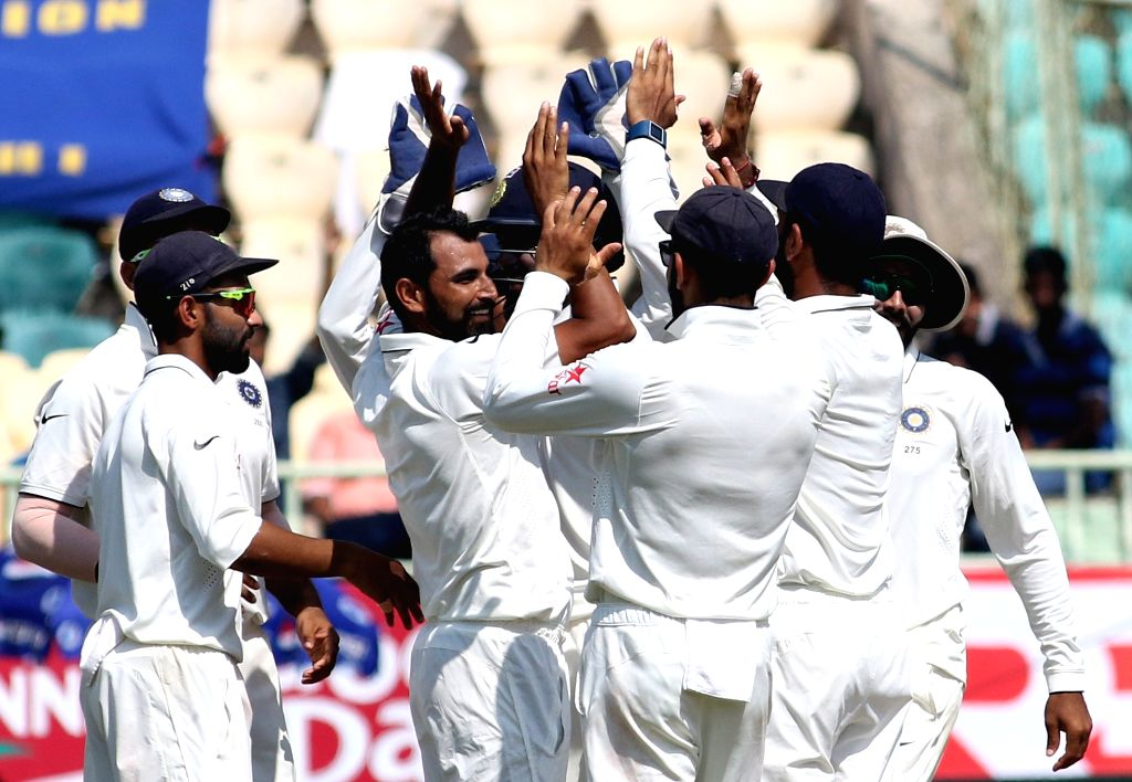 Mohammed Shamiof India celebrates wicket of Adil Rashid during the Day-5 of the second test cricket match between India and England at the Dr. YS Rajasekhara Reddy ACA-VDCA Cricket ... - Rajasekhara Reddy A